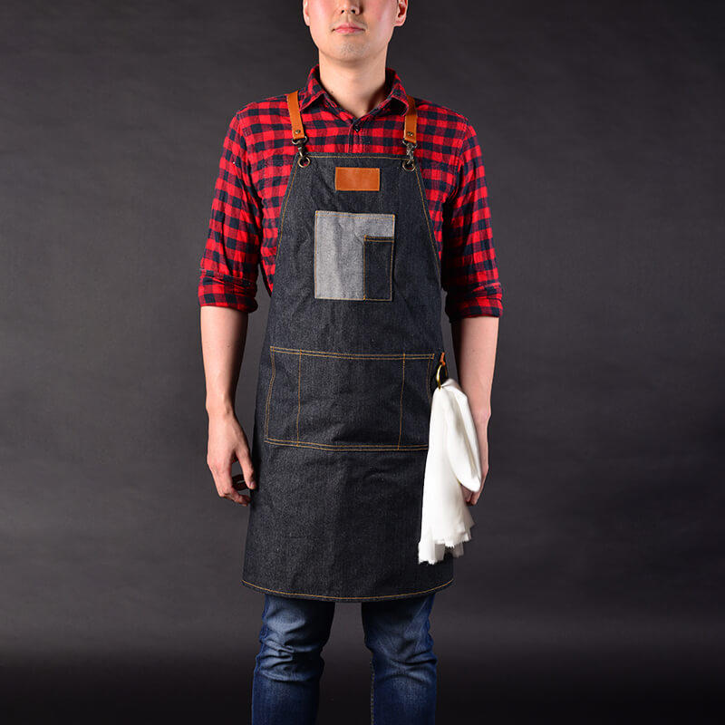 Vintage Barber Vic Denim Apron Durable And Wear-proof Material